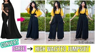 Convert Saree/Leftover Fabric Into High Waisted Jumpsuit in Just 10 minutes