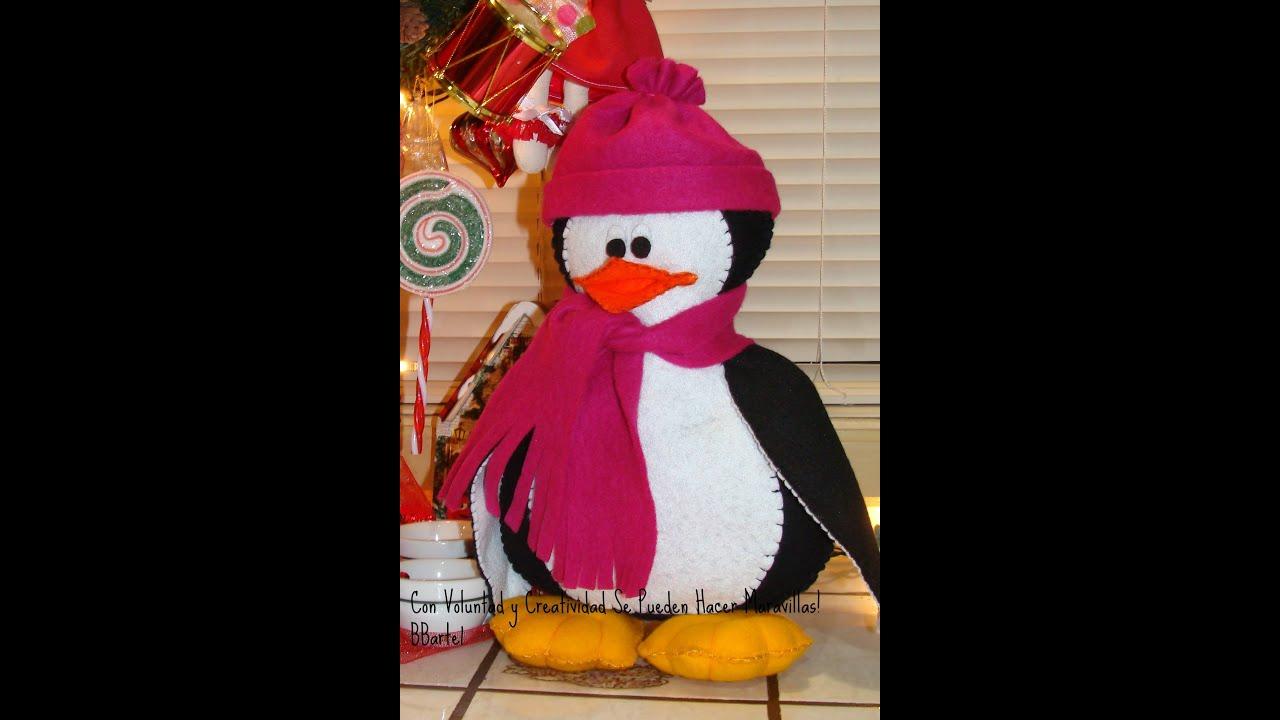 Diy pinguinito en fieltro adorno navide o bbarte1 - Manualidades con fieltro para navidad ...