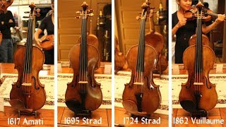 Demonstration of Stradivari, Amati and Vuillaume violins from Florian Leonhard