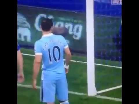 Everton-Man City aguero help a fan  ايفرتون سيرجيو اجويرو