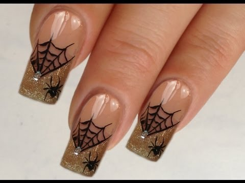 Nailart Design Tutorial Halloween glamorous spiderweb