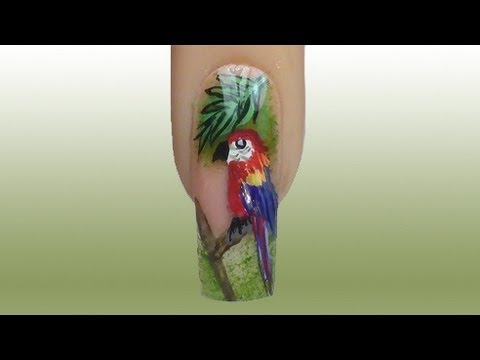 How to paint a parrot / Papagei NailArt Tutorial