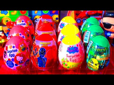 12 Surprise Eggs Peppa Pig SHREK Toys Power Rangers Samurai Hello Kitty Easter Egg Toy Surprises WOW