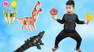 Trò Chơi Săn Cá Sấu Và Khủng Long Lấy Kẹo ♥ Min Min TV Minh Khoa