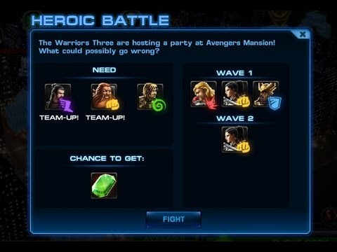 Marvel Avengers Alliance: Warrior's Three Heroic Battle (S1: Ch. 2 Mission 6)