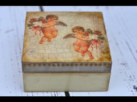 Decoupage krok po kroku — świąteczne pudełeczko z aniołkiem