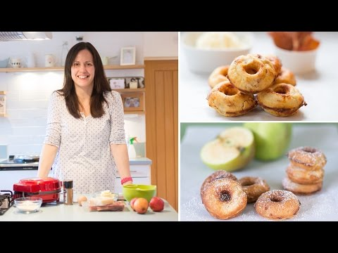 Making mini donuts in a donut maker machine. Two recipes for sweet and savoury!