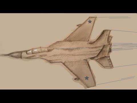 Видео как нарисовать военный самолет карандашом поэтапно