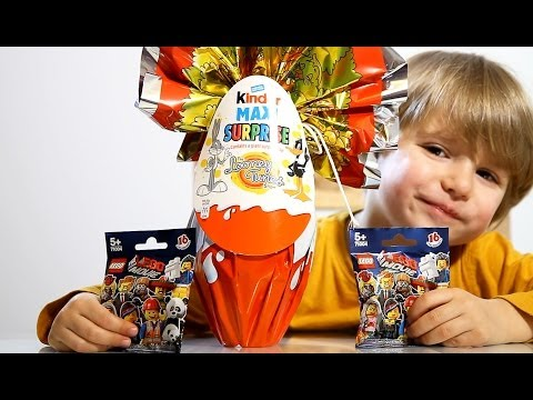 Giant Kinder MAXI Surprise The Looney Tunes Show Egg !! Two The Lego Movie Blind Bags klip izle