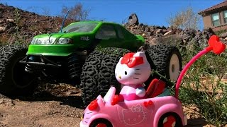 Losi LST2 Monster Truck VS. Hello Kitty Remote Control Car Race Review! || Konas Vlog || Konas2002