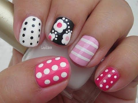 Nail Art - Girly Mix n Match - Facebook Challenge - Decoracion de Uñas