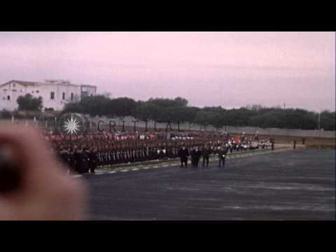 President of Tunisia Habib Bourguiba speaks into microphone and introduces Presid...HD Stock Footage