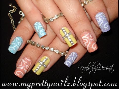 EASY EASTER PRETTY PASTEL NAIL ART DESIGN WITH RHINESTONE CROSS TUTORIAL