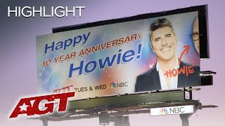 The REVEAL Of Howie Mandel's Ten Year Anniversary BILLBOARD! - America's Got Talent 2019