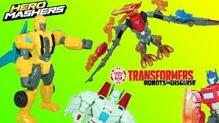 Transformers Hero Mashers Bumblebee and Dinobot Strafe Save Jetfire from Megatron!