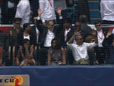 Raw: Obama & Castro Catch Baseball Game