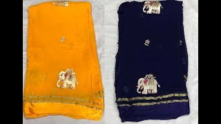 Georgette Fancy Chiffon Saree With Satin Border || DAILY USE CHIFFON SAREE WITH BLOUSE