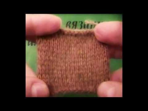 Вязание образца спицами для определения плотности (п)