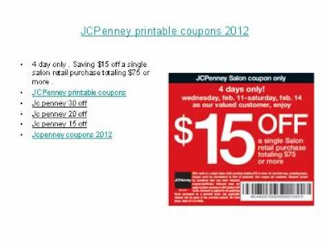 JCPenney printable coupons 2012