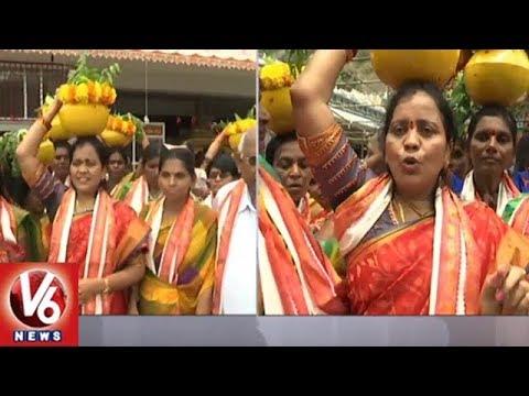 Telugu Women Community Members Offers Bonam To Vijayawada Kanakadurga Goddess | V6 News