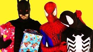 Spiderman vs Venom vs Batman with Santa Claus! Real Life Superhero Battle Movie! 1