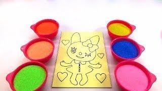 CẢ NHÀ THƯƠNG NHAU!Nhạc Thiếu Nhi!Đồ chơi trẻ em TÔ MÀU TRANH CÁT HÌNH GIA ĐÌNH GẤU Color