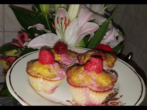 Банановые маффены с малиной!!!диэтические кексы..легко и просто без муки