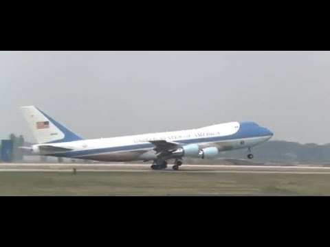 SOUTH KOREA!  President Barack Obama Departs Osan Air Base via Air Force One!
