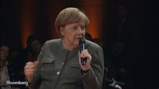 Merkel on Cybersecurity, Defense Spending, Brexit, Banks Full Interview