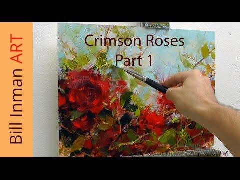 Art Class Oil Painting Demo Part 1 Crimson Roses - Muncie, Indiana