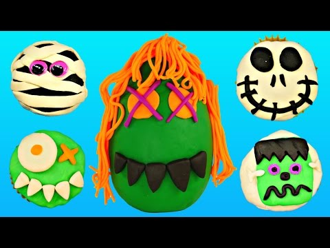 SURPRISE Spooky Toy Cupcakes Play Doh Giant Halloween Egg - Shopkins Peppa Pig LPS Doc McStuffins