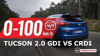 2019 Hyundai Tucson 0-100km/h & engine sound (2.0 GDI vs 2.0 CRDi)
