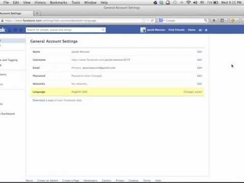วิธีการเปลี่ยนภาษาใน facebook
