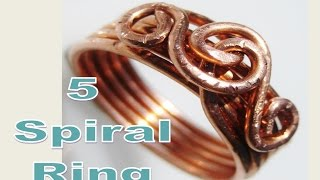 EASY WIRE WRAP -  5 Spiral Ring - Liz Kreate