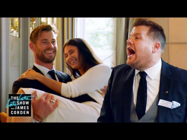 Chris Hemsworth v. James Corden - Battle of the Waiters - #LateLateLondon thumbnail