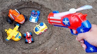 Fine Car Toys In The Sand | Helicopter, Police Car, Fire Truck, Bus Toys for Children