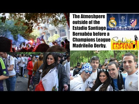 Outside of the Bernabeu before the UCL Madrileno Derby