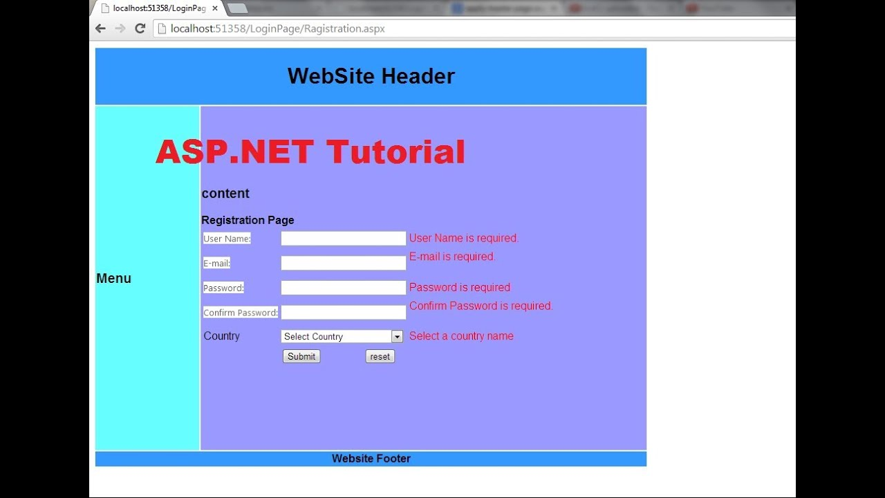 Asp net tutorial 8 create a login website creating master page and apply it to existing aspx - Asp net home page design ...