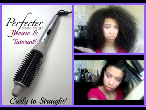 CURLY to STRAIGHT Tutorial + Perfecter Fusion Styler Review!!!