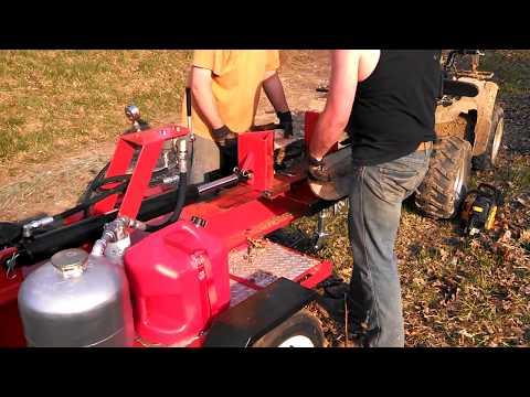 Homemade log splitter - first use