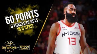 James Harden Scores 60 Points in 3 Quarters! | Rockets vs Hawks | Nov 30, 2019