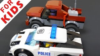 LEGO Police and excavator Compilation . Police chase and lego prison break