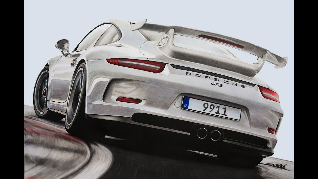 Porsche 911 991 Gt3 Speed Drawing By Roman Miah Youtube