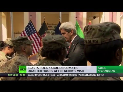 Kerry applauds Afghan security just hours before 2 blasts in Kabul