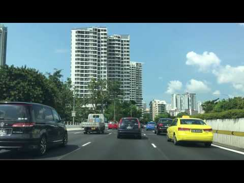 Driving through Singapore City to Sentosa Cable Car Cable - Car Mount Farber
