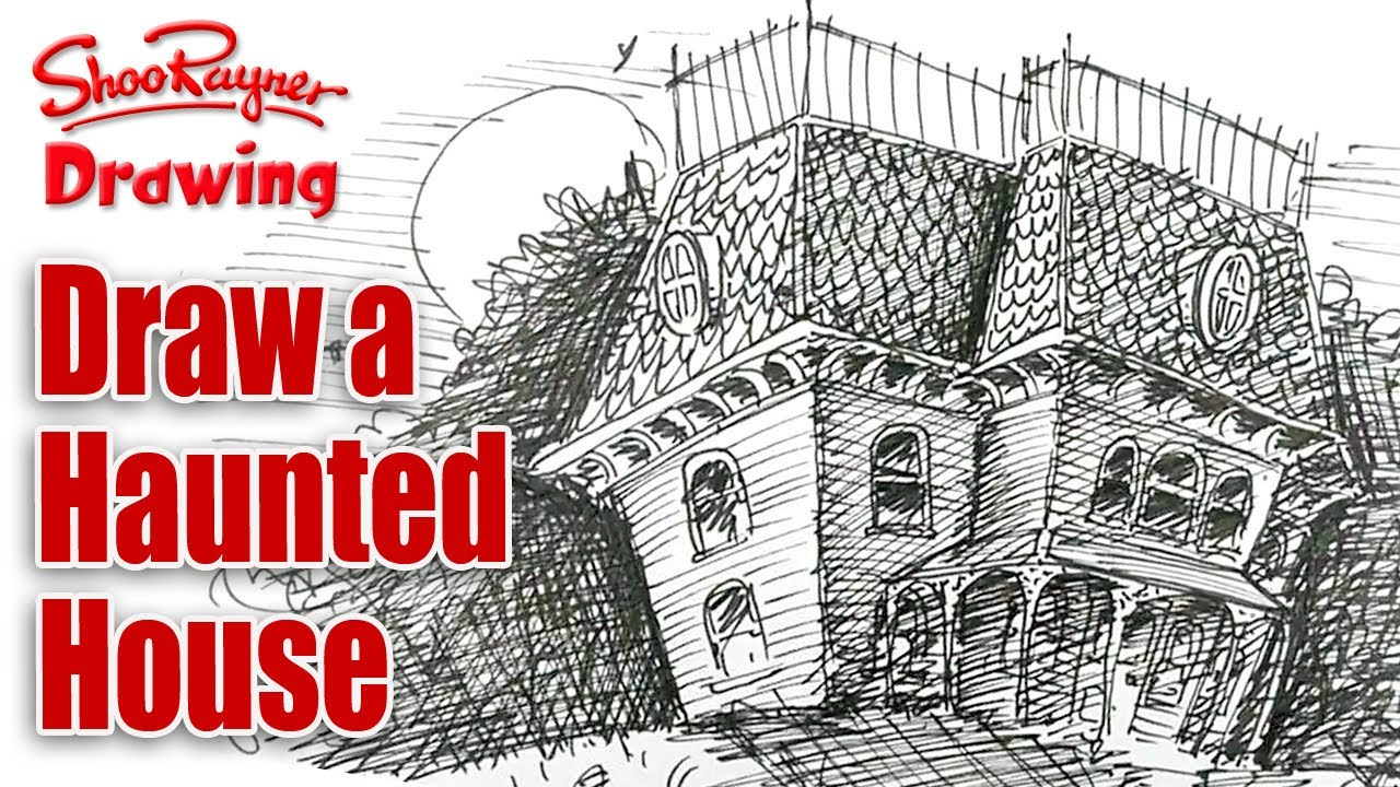 How to draw a haunted house spoken tutorial for for Draw your house