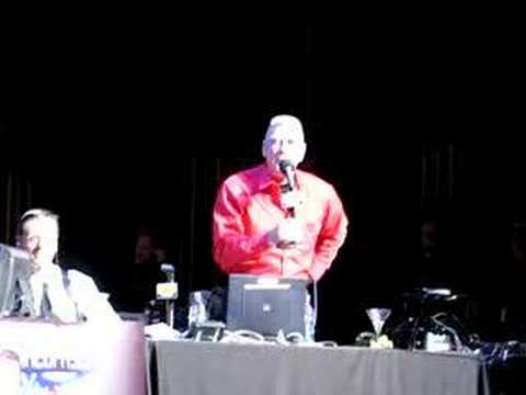 "Gunner Sgt. Hartman from ""Full Metal Jacket"" cuts the audience (cleanly) down to size. R. Lee Ermey was special guest of the Roe Conn Show's Winter Wonderlus..."