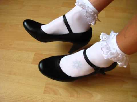 leather pumps and frilly socks
