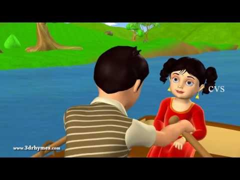 Row Row Row Your Boat - 3D Animation English Nursery Rhyme For Children With Lyrics