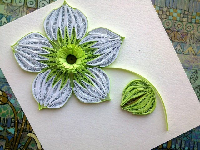 Quilling Flowers Tutorial make a beautiful green Quilling flower. Paper art Quilling.